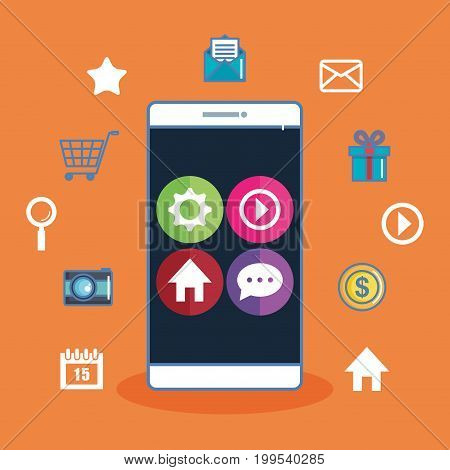 smartphone with app icons on screen orange background vector illustration