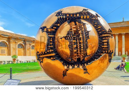 Vatican, Vatican- May 09, 2017 : Enclosed Court Of The Vatican, Sphere Within Sphere (sfera Con Sfer