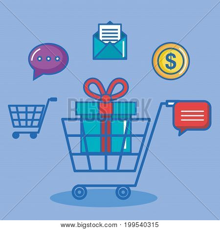 shopping online buy sms chat pay digital internet vector illustration