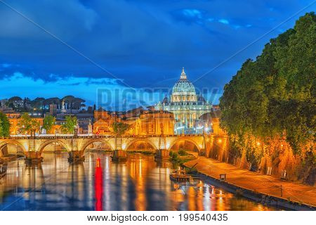 View On Bridge Vittorio Emanuele Ii (ponte Vittorio Emanuele Ii) And Vatican City St. Peter's Basili