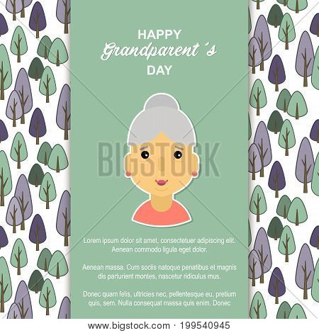 Happy day grandparents. Card for your greetings. Stock vector. Dear sweet beloved grandmother .