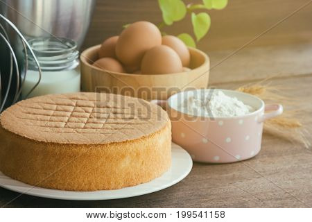 Homemade sponge cake on white plate.Soft and lite delicious sponge cake with ingredients: eggs flour milk on wood table. Homemade cake with ingredients in homemade bakery concept for bakery background. Plain sponge cake on wood table.