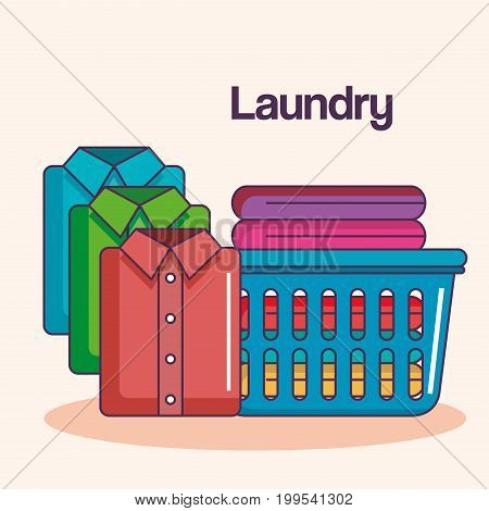 laundry service clean vector illustration loth basket shirts folded