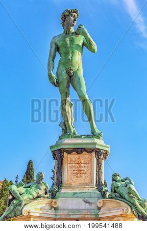 Replica Of The Statue Of Mikeladnjeldo - David On Square Of Michelangelo (piazzale Michelangelo). It