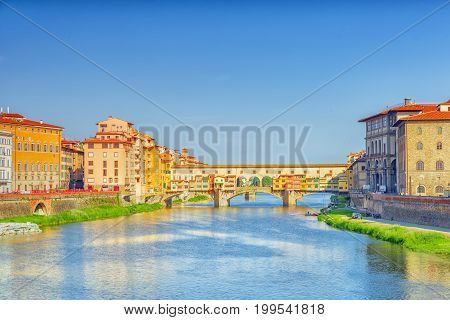 Ponte Vecchio Is A Bridge In Florence, Located At The Narrowest Point Of The Arno River, Almost Oppo