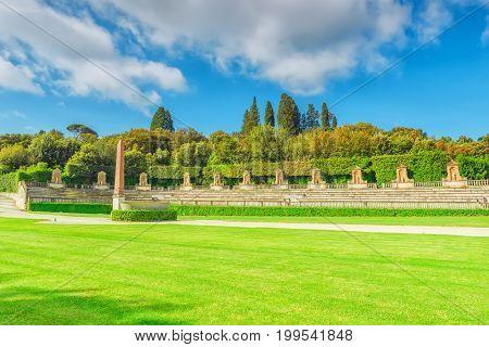 Boboli Gardens (giardino Di Boboli)  In Florence - City Of The Renaissance On Arno River. Italy.