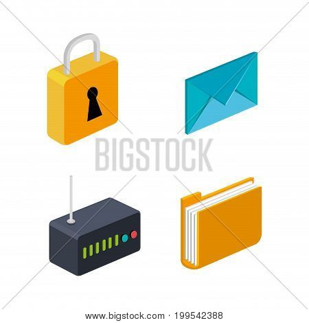 router folder email security connection technology collection vector illustration