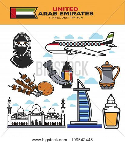 Arab Emirates tourism travel landmarks and UAE culture sightseeing icons. Vector set of Arabian airline flag, Burj al Arab hotel and Jumeira mosque, muslim paranja or hookah and kebab food and perfume