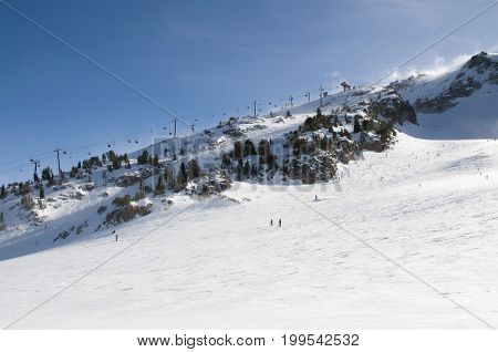 People on the slopes of a ski resort