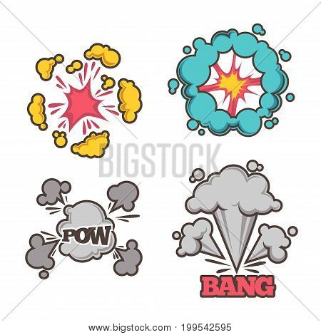 Bang cartoon effect with small explosion and colorful and monochrome clouds of dust isolated vector illustrations on white background. Visualisation of loud noises from heavy object fall or burst.