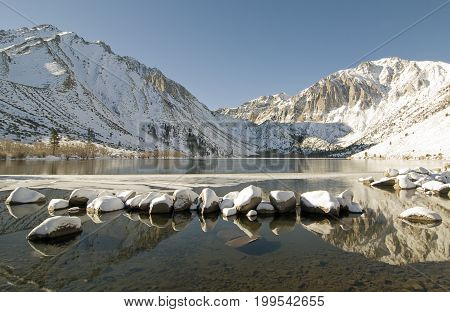 Convict Lake in winter near Mammoth Lakes, CA.
