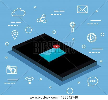 smartphone with letter messaging connection notification information vector illustration