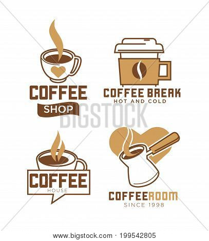 Coffee shop emblems with hot and cold beverages in metal turk, ceramic and paper cups with heart isolated vector illustrations set on white background. Cafe with tasty drinks since 1998 logotype.
