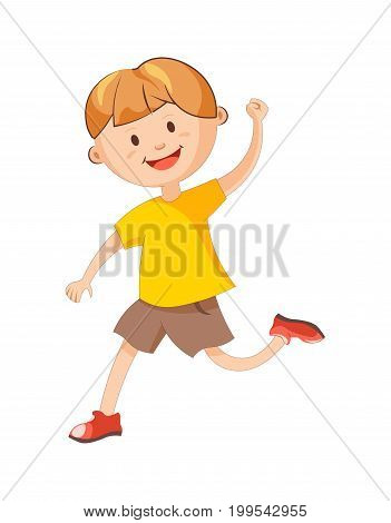 Cheerful boy in yellow T-shirt, loose brown shorts and red shoes runs with raised hand isolated cartoon vector illustration on white background. Happy child plays game. Young male character in motion.