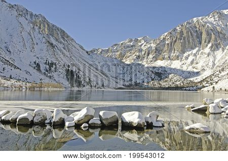 Convict Lake in winter near Mammoth Lakes CA.