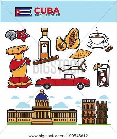 Cuba tourism travel symbols and culture famous sightseeing icons. Cuban flag, Havana cigar or rum and Capitol building architecture, coffee or avocado and retro car