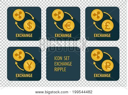 Exchange cryptocurrency Ripple vector icons on a dark background with arrows and long shadows