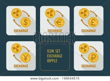 Vector icons exchange cryptocurrency Ripple for different currencies with arrows on a white background with long shadows