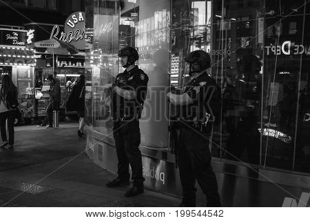 New York USA - 26 September 2016: NYPD officers on the beat in Times Square Manhattan.
