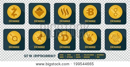 set of different vector icons exchange cryptocurrency on dark background with long shadows