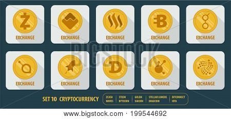 set of different vector icons exchange cryptocurrency on white background with long shadows