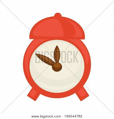 Vector illustration of red colored alarm clock isolated on white.