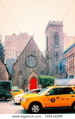 New York USA - 27 September 2016: The Church of the Holy Communion and Buildings are historic Episcopal church buildings at 656-662 Avenue of the Americas (Sixth Avenue) at West 20th Street in the Flatiron District of Manhattan New York City.