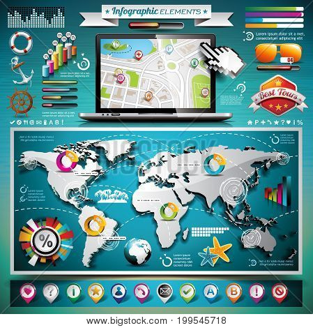 Vector Summer Travel Infographic Set With World Map And Vacation Elements. Eps 10 Illustration.