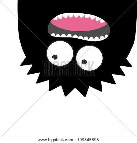 Monster head silhouette. Two eyes teeth tongue. Hanging upside down. Black color Funny Cute cartoon character. Baby collection. Happy Halloween card. Flat design White background Vector illustration