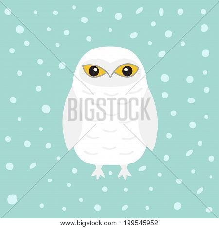 White Snowy owl. Sitting bird with wings. Snow barn. Yellow eyes. Arctic Polar animal collection. Baby education. Flat design. Isolated. Blue winter background with snow flake. Vector illustration