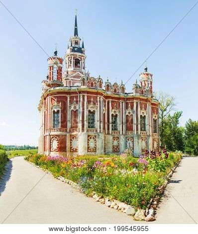 Novo-Nikolsky Cathedral (was built in XVIII-XIX centure) in sunny summer day. Mozhaysk Moscow region Russia