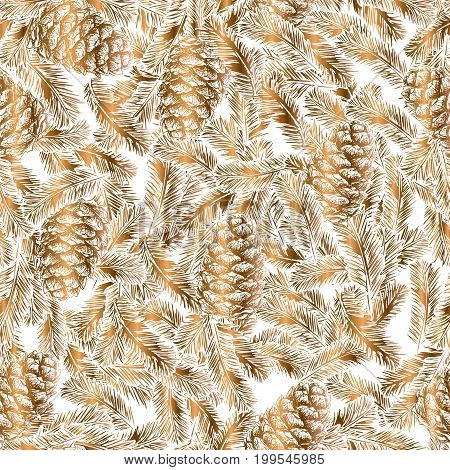 Exquisite and luxurious Christmas and New Year design elements - seamless wallpaper of golden pine cones and spruce branches