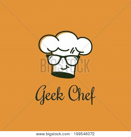 Geek chef logo template design with offset color effect. Vector illustration.