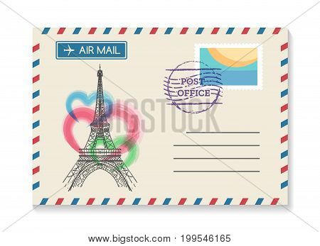 Retro Paris postal invitation. Vector vintage old wedding air mail postcard or love letter from France with Eiffel Tower
