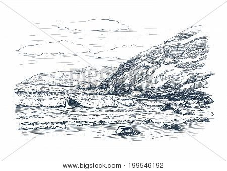 Sea surf and rocks. Vector sketch on white background