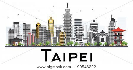 Taipei Taiwan Skyline with Gray Buildings Isolated on White Background. Business Travel and Tourism Concept.