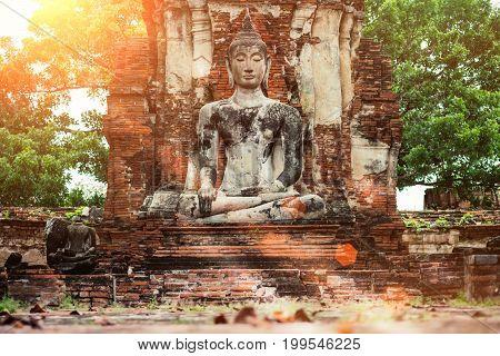 Ayutthaya Old Buddha Statue In Wat Mahathat Temple. Ayutthaya Historical Park