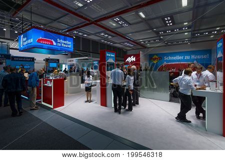 BERLIN - SEPTEMBER 04 2015: Stand of company AVM producer of popular routers Fritz! Box. International radio exhibition Berlin (IFA)