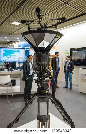 BERLIN - SEPTEMBER 04 2015: Panoramic UHD Video Fraunhofer OmniCam-360. International radio exhibition Berlin (IFA).