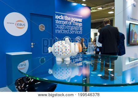 BERLIN - SEPTEMBER 04 2015: Stand of company EEBus Initiative eV International radio exhibition Berlin (IFA).