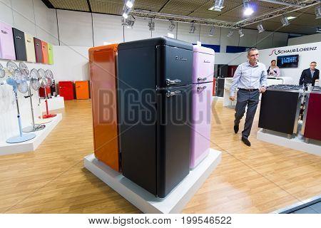 BERLIN - SEPTEMBER 04 2015: Stand of company Schaub Lorenz and prototypes of refrigerators in retro style .. International radio exhibition Berlin (IFA).