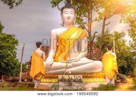 Outdoor Big White Buddha Statue At Wat Samanakotaram In Ayutthaya Historical Park, Thailand. Vintage