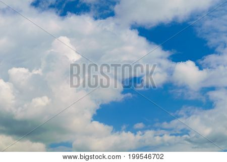 Background of blue sky with white and gray clouds. Illustration for weather forecast.