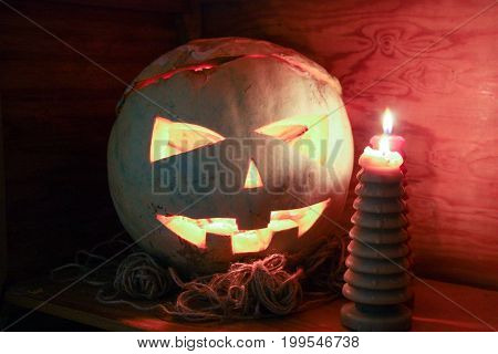 Halloween Concept. Fiery Pumpkin. Scary And Scary