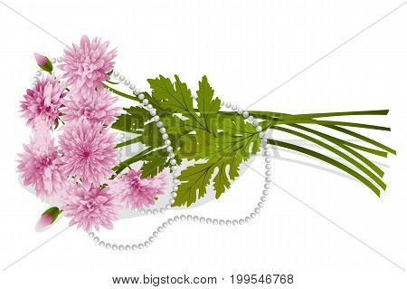 Bouquet of pink chrysanthemums entwined with a pearl necklace isolated on white background, vector illustration