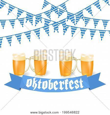 Oktoberfest banners in Bavarian color. Feast of Bavaria white and blue ribbon Oktoberfest. Vector illustration