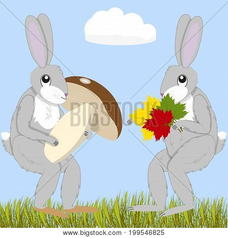 Two hares with a large mushroom and a bouquet of colorful autumn leaves, vector illustration