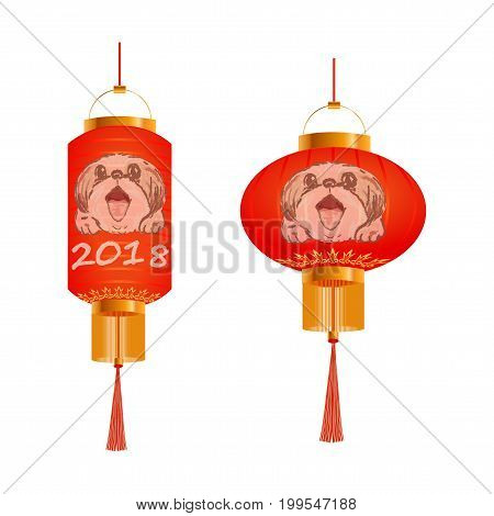 Set of orange Chinese lanterns with a portrait of a dog. 2018. Round and cylindrical forms. Isolated. Vector illustration