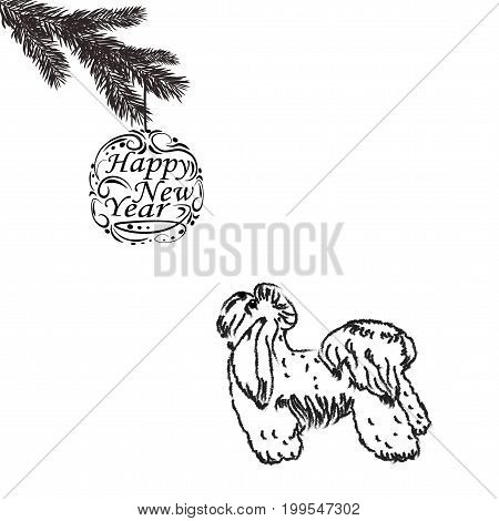 2018 The Zodiac. Year of the dog brings prosperity and good luck. Chinese calendar for the year of the dog. Fir branch. Vector illustration