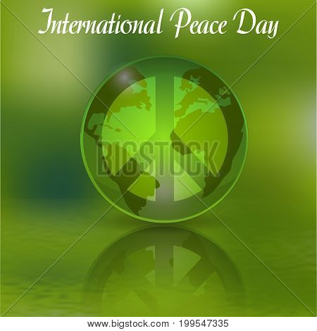 The sign of the day of peace for Peace Day. Green World. Vector illustration